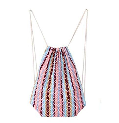 LAMEIDA Sac à cordon Sac de Stockage Couleur Stripe Patterns Sac Drawstring Backpack pour École Voyage Camping Yoga Shopping