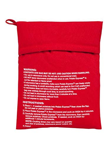 Bolsa de cocina para microondas para patatas, perfecta para patatas en 4 – 6 minutos, color rojo