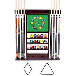 Cue Rack Only - 8 Pool - Billiard Stick & Ball Wall Rack W Clock Choose Mahogany, Black, or Dark Oak Finish (Mahogany)