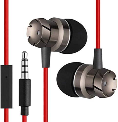 RTUTUR 2 Piezas de Auriculares en la Oreja los Auriculares con Cable de 3,5 mm Auriculares aislantes del Ruido Auriculares de botón Auriculares micrófono Incorporado - Rojo (Color : Red)