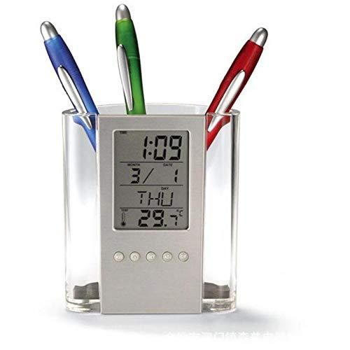 MSCHANG multifunción Reloj de Escritorio Digital Porte-stylo/lápiz Alarma LCD Horloges termómetro gráfico del Calendario Reloj