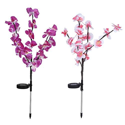 Beisha Luz de jardín, 2 Piezas/Juego de Luces LED de árbol de orquídeas Artificiales de energía Solar para decoración de césped de Patio de jardín