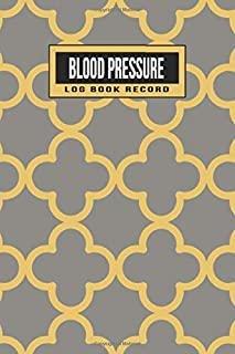 Blood Pressure Log Book Record: 2 year 104 Weeks of Daily Readings | 4 Readings a Day with Time, Blood Pressure, Heart Rate, Weight & Comment Notes (Gold & Beige Geometric)