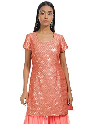 Indya Women's Silk a-line Kurta (ITN01792_Pink_X-Small)