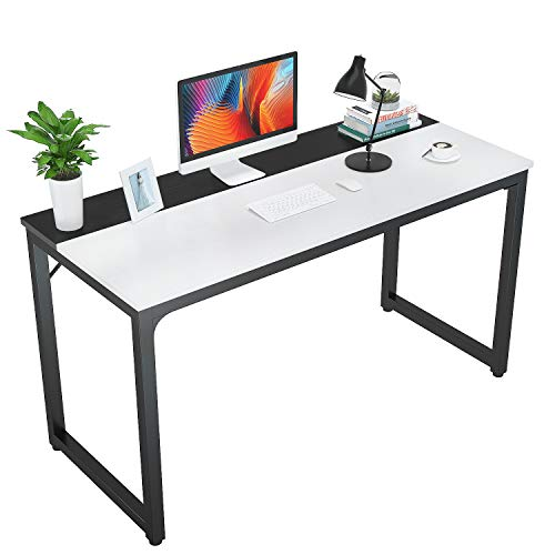 "Foxemart 47 Inch Computer Table Sturdy Office Desk, Modern PC Laptop 47"" Writing Study Gaming Desk for Home Office Workstation, White and Black"