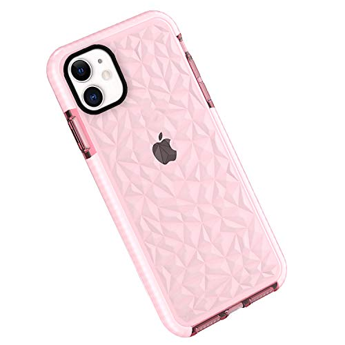 "Funda iPhone 11, Carcasa Silicona Transparente Protector TPU Airbag Anti-Choque Ultra-Delgado Anti-arañazos Case 3D Modelo Geométrico de Diamante Funda para iPhone 11 6.1"" (iPhone 11, Rosa)"