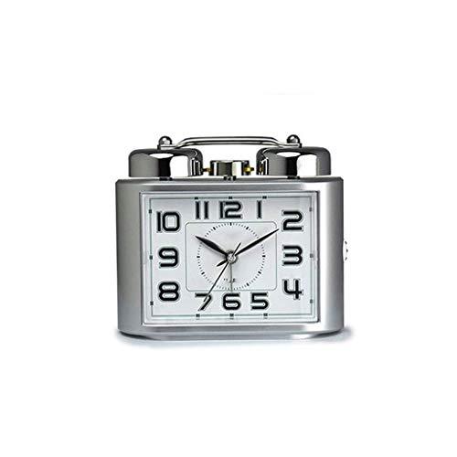 ZYING Despertadores Que Hacen tictac for los dormitorios, Despertador Elegante del Viaje con la Siesta, silencioso ningún tictac Junto a la Cama (Color : Silver)