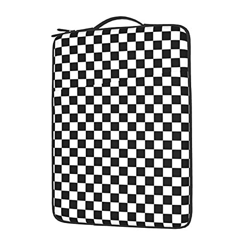 Laptop Sleeve Case Black White Checkerboard with Front Pocket Lightweight Computer Protection Bag 14 Inch
