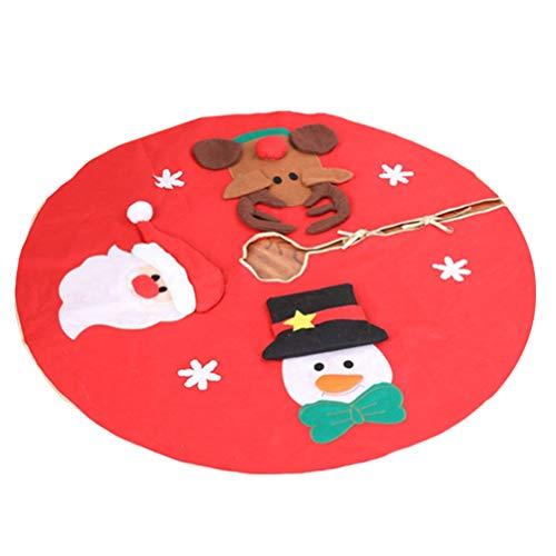 CLISPEED Collar de Árbol de Navidad Falda Santa Muñeco de Nieve Reno Collar de Árbol de Navidad Canasta Anillo Base Soporte Cubierta Mat Granja Vacaciones Bajo El Árbol de Navidad