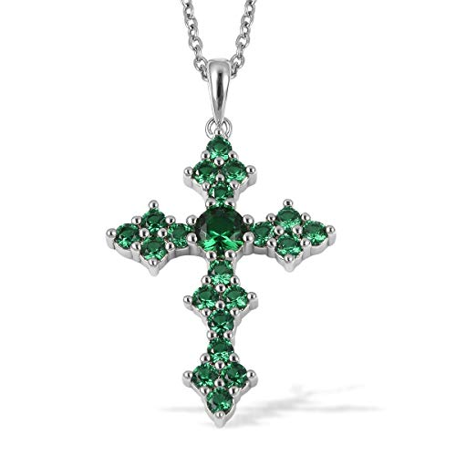 """Stainless Steel Silvertone Round Cubic Zirconia CZ Green Cross Pendant Necklace 20"""" Ct 1.7"""