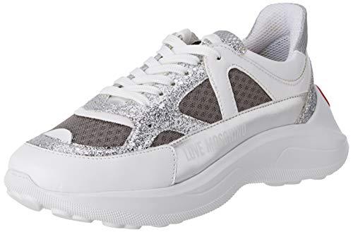 Love Moschino Scarpad.running60 Rete+glitt+na.Lam, Chaussures de Gymnastique Femme, Gris (Grey Mesh 02a), 38 EU