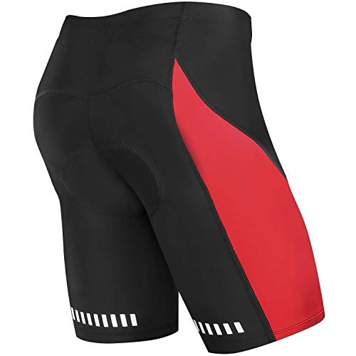 NOOYME Men's Cycling Shorts of Bike with 3D Padded for Bicycle Riding- Red Design Bike Shorts (L, Red)
