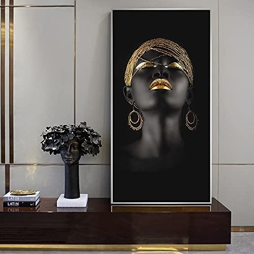 WQHLSH Pinturas africanas de las mujeres en la muchacha negra del arte de la lona con los pendientes de oro de los pendientes y la imagen del arte de la pared del cartel for la decoración del hogar 20