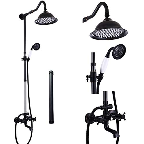 Aolemi Oil Rubbed Bronze Shower Faucet Set with Hand Sprayer and Tub Spout 12 Inch Extension Tube Included 8 Inch Rainfall Shower Head Fixture Wall Mount Triple Function 2 Cross Knobs