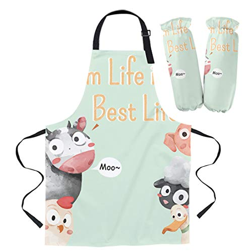 Adjustable Canvas Kitchen Apron and Polyester Sleeve Set,Farm Life is Best Life Cow Animal Pattern Durable Bib Cooking Apron for Women/Men/Kids/Chef