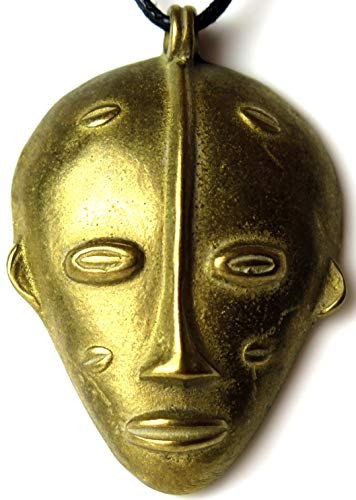 key west gypsy Big Tribal Sculpted Brass 61 mm African Protection Pendant Ethnic Deity Mask Bronze Necklace 33 gram Solid Brass New with Tag