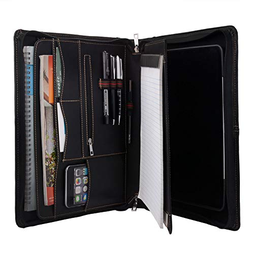 Zipper Leather Portfolio with Removable Tablet Holder, Padfolio Tablet Case with Stand Compatible for iPad 10.2-inch