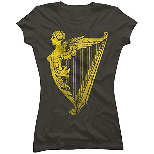 Xinhe Irish Harp Heraldry Weathered Gold Juniors' Graphic T Shirt (Size:XXL