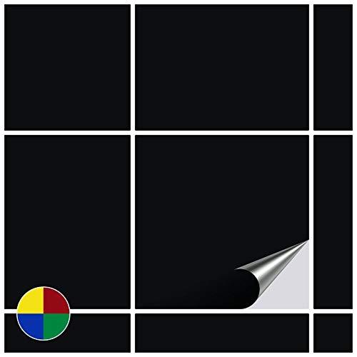 FoLIESEN Fliesenaufkleber für Bad und Küche - 15x15 cm - schwarz glänzend - 20 Fliesensticker für Wandfliesen
