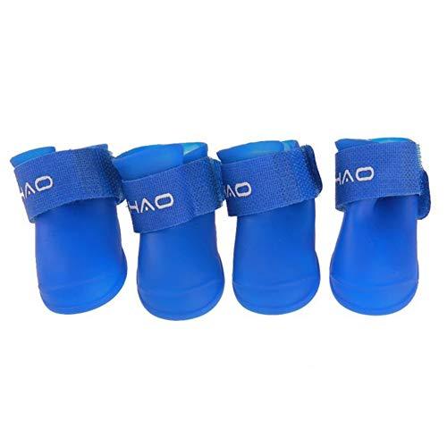 jingxiaopu Botas De Agua para Perros Calzado para Perros Antideslizantes Zapatos Impermeables para Perros Botas Calcetines Antideslizantes para Perro para Largas Caminatas Blue,4.3