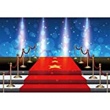 Haoyiyi 8x6ft Stage Spotlight Backdrop Red Carpet Luxury Interior Photography Background Superstar Drama Play Music Show Kids Adults Birthday Baby Shower Wedding Party Vlogger Photo Studio Props