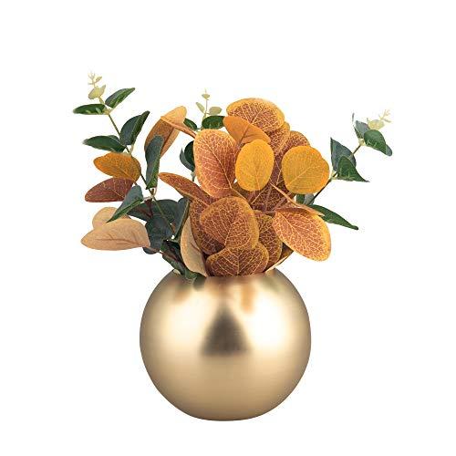 IMEEA Blume Vase Edelstahl Deko Vase Gold für Zuhause Party Hochzeit, 12 cm