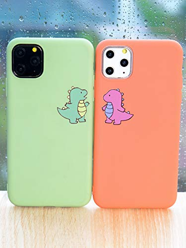 JOYLAND Coral Couple Phone Case Cover for iPhone XR Pink Case Girly Lover Cute Cartoon Dinosaur Phone Case Cover Peach Color Silica Gel Bumper Pink Protective Shell Compatible for iPhone XR