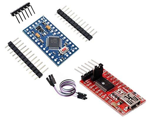 TECNOIOT Pro Mini Atmega 328P 5V/16MHz + FTDI FT232RL USB a TTL Serial Converter