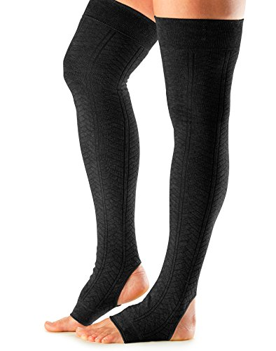 ToeSox Women's Wool Thigh High Ribbed Knit Leg Warmers (Black) One Size