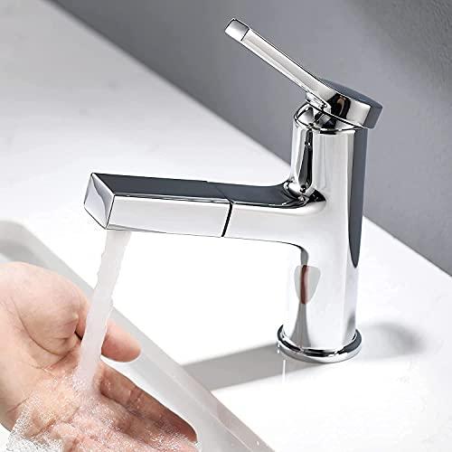Lonheo Wasserhahn Bad Armatur mit herausziehbarer Brause zum Haarewaschen, Chrom Waschtischarmatur Waschbeckenarmatur für Aufsatzwaschbecken