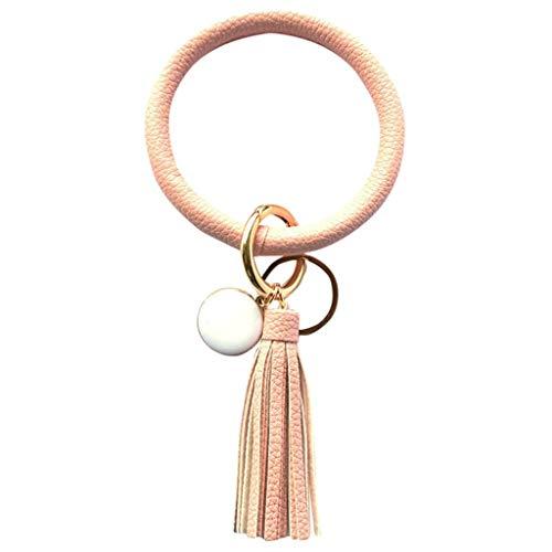 Brooch Women &Girls Wristlet Keychain Bangle Tassel Ring Circle Key Ring Leather Bangle Woman Jewelry