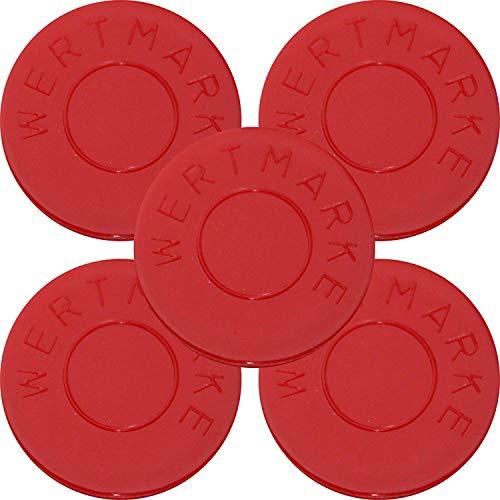 100 Pfandmarken Wertmarken Durchmesser 30mm Farbe Rot mit beidseitiger Aufschrift