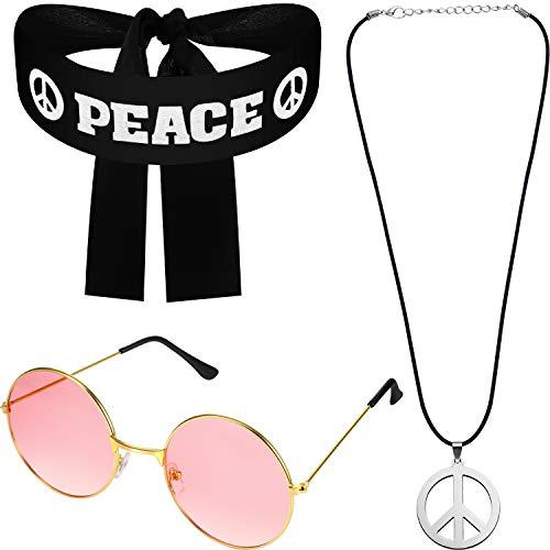 Juego de Disfraz de Hippie para Mujer Hombre, Incluye Gafa de Sol, Collar de Signo de Paz y Diadema de Signo de Paz para Juego de Accesorios de Paz de Fiesta de 60s 70s