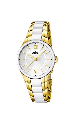 Lotus Reloj de Cuarzo para Mujer con Color Blanco Esfera analógica Pantalla y Pulsera de cerámica Blancos 15935/1