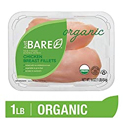 Just BARE USDA Organic Fresh Chicken Breast Fillets | Antibiotic Free | Boneless | Skinless | 1.0 LB