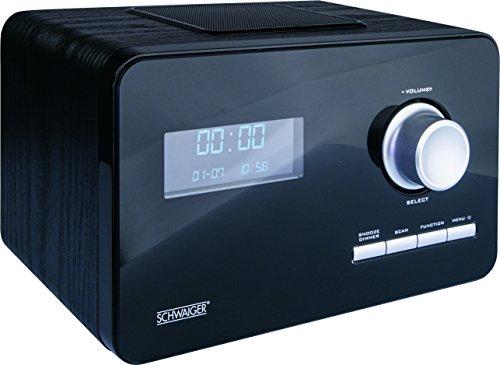 SCHWAIGER -104- Digital Radio DAB/DAB+, mit Stab-Antenne und Wecker-Funktion, UKW & DAB Empfang, Betrieb via Netzteil, beleuchtetes LCD Display und automatischer Sendersuchlauf