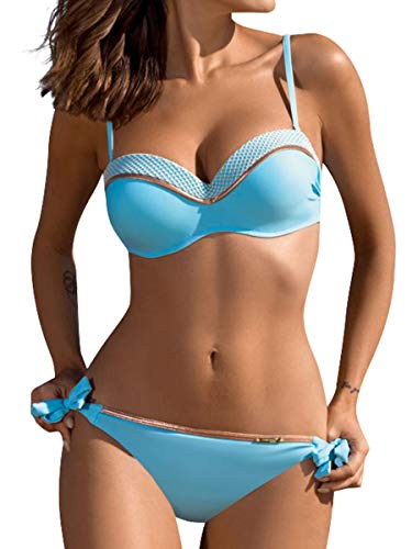 Yuson Girl Damen Zweiteilige Bikini Sets,Neckholder Kontrastfarben Oberteil Bandeau Bademode Verknotet Thong Bikinihose Push up Bikinis Sexy Badeanzug Tanga Bikinis Swimsuit für Frauen