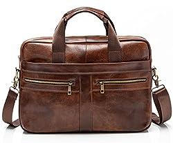 commercial Genuine Leather Men's BRA1NST0RM Messenger Bag – 14 inch Padded Laptop Briefcase office bags for men