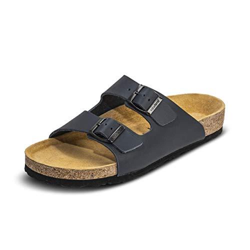 VITAFORM® Herren Pantolette Sandale Echt Leder Mit Naturkork – Extra Breiter Hausschuh Mit Luftpolsterfußbett (Blau, Numeric_42)