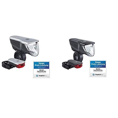 Büchel Unisex-Adult Vancouver Pro, 70 Lux, LED Akkuleuchtenset, 51227500 Fahrradbeleuchtungsset, Silber/Schwarz, one Size & Vancouver Pro, 70 Lux, LED Akku-Leuchten-Set, StVZO zugelassen, schwarz