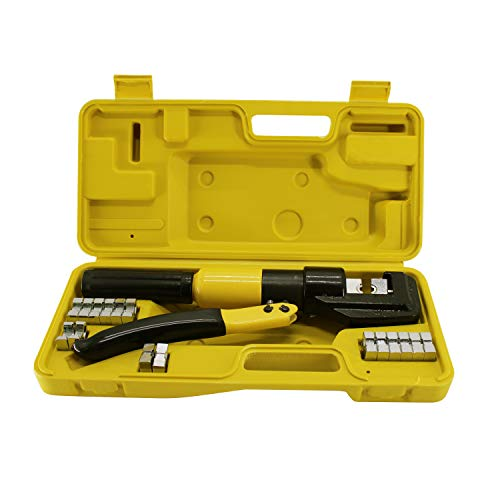 HFS (R) Hydraulic Wire Terminal Crimper Battery Cable Lug Crimping Tool W/dies Wire Crimping Tool (10T)