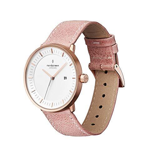Nordgreen Philosopher skandinavische Uhr in Roségold mit weißem Ziffernblatt und austauschbarem 36mm Leder Armband Pink 10069