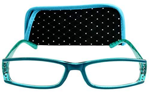 Designer Lesebrille für Damen blau türkis mit Strass besetzt, Federscharnier Bügel, Etui auch mit Strasssteinen besetzt 1.0 1.5 2.0 2.5 3.0, Dioptrien:Dioptrien 2.5