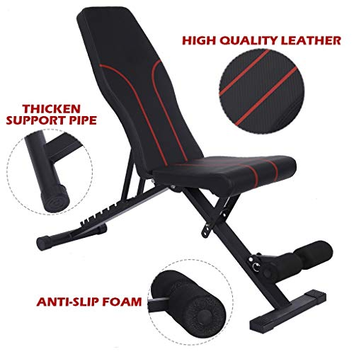 amidoa Adjustable Weight Bench,Utility Weight Bench Foldable Workout Bench Incline/Decline Bench for Full Body Workout Home Gym,Multi-Purpose Foldable