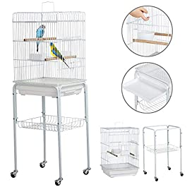 Yaheetech Metal Rolling Bird Cage Parakeet Finch Budgie Conure Lovebird House On Wheels w/3 Front Doors/Storage Shelf/Bottom Tray 118H cm