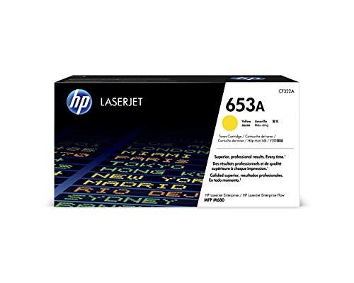 HP 653A CF323A, Amarillo, Cartucho Tóner Original, de 16.500 páginas, para impresoras HP Color LaserJet Enterprise Flow MFP M680z, Color LaserJet Enterprise M680dn y M680f