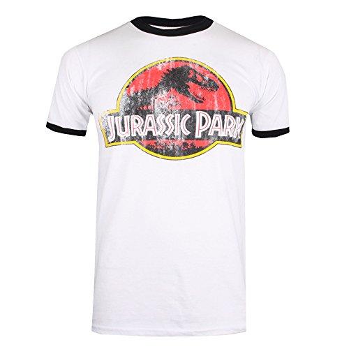 Jurassic Park Herren Distressed Logo T-Shirt, Ringer weiß/schwarz, XXL