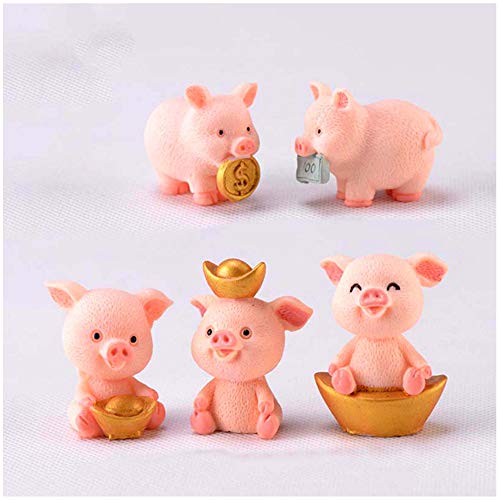 5 Stück Glücksbringer Mini-Schweine kleine Glücksschweine Glück Schwein Figuren Miniatur Glücksschwein Neujahr Glücksschwein für Micro Landschaft Geschenke Dekoration Heimtextilien Statue Ornamente