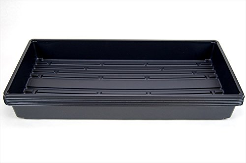 5 Pack of Durable Black Plastic Growing Trays (Without Drain Holes) 21' X 11' X 2' - Flowers, Seedlings, Plants, Wheatgrass, Microgreens & More