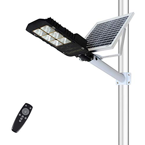 Sunlement 80W LED Solar Street Lights, Outdoor Dusk to Dawn Pole Lights with Remote Control, 254 LEDs, Waterproof, for Pathway, Garden, Yard, Patio(Cool White)